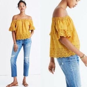 MADEWELL Mustard Yellow Eyelet Off the Shoulder XS